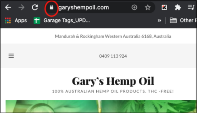 Gary's Hemp Oil URL Showing a Padlock Security Icon]