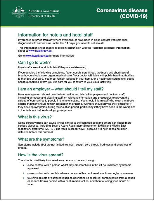 AU Ten Tactics Government Fact Sheet Hotels