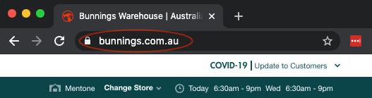 Bunnings domain name in browser bar