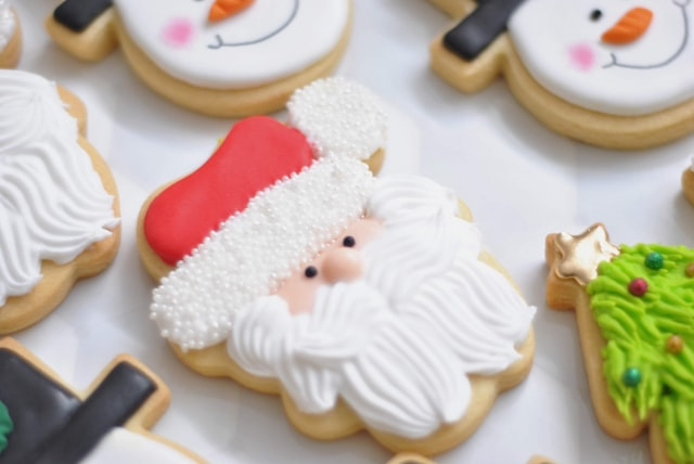 Closeup of decorated Christmas coookies