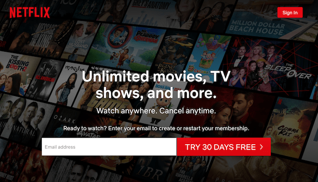 Example of Call to Action as Shown on Netflix Website