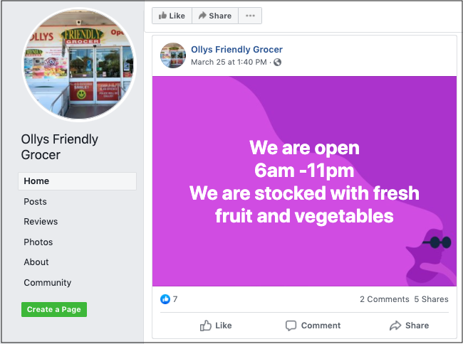 Using Social Media Ollys Friendly Grocer Facebook
