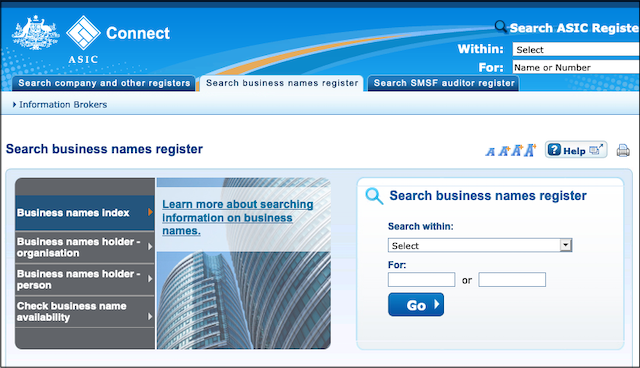 ASIC Online Business Name Search Tool