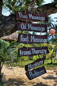 Instagram Ads Spa Signs Hanging from Tree