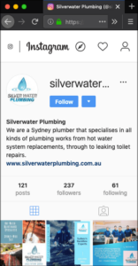 Instagram Advertising Silverwater Plumbing