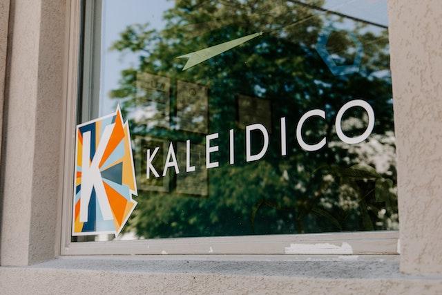 Kaleidico printed on a window