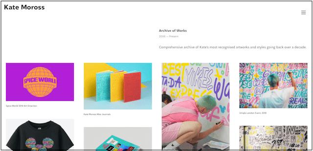 Kate Moross artist portfolio website