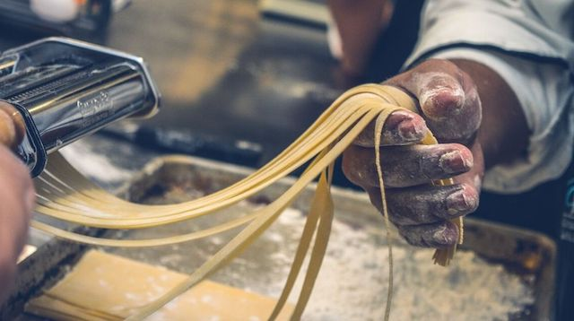 Lean Manufacturing Person Making Pasta