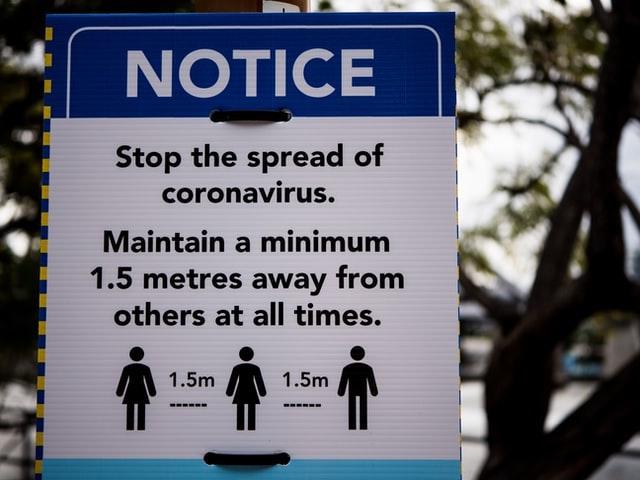 Outdoor Sign Encouraging Social Distancing
