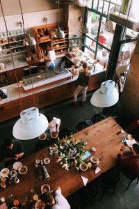 Overhead View of Coffee House