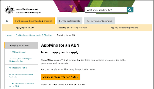 Register for GST Government ABN Website