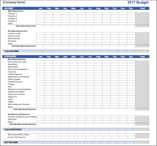 Small Business Excel Budget Template