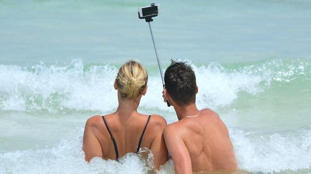 Travel Blog Couple Taking Selfie