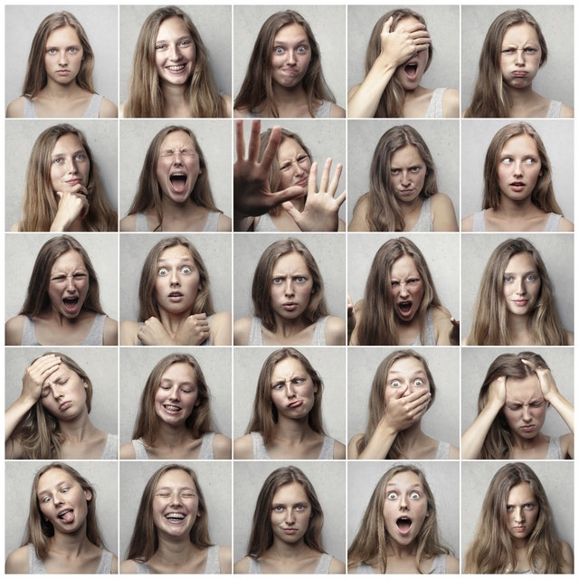 25 pictures of a woman showing a range of emotion