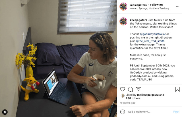 Keesja Gofers posting from quarantine