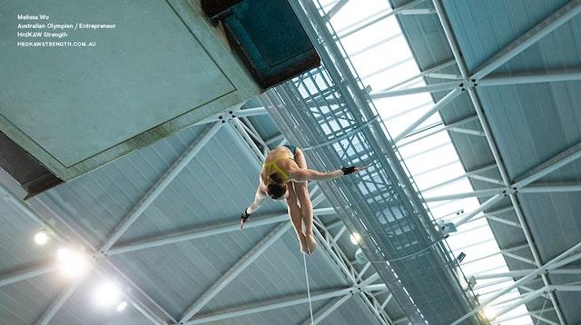 Melissa Wu diving seen from below