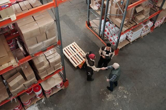Overhead view of workers in a warehouse