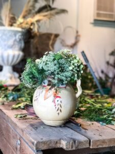 Bouquet in crockery at One Fat Emu