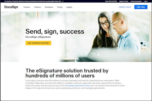Docusign landing page