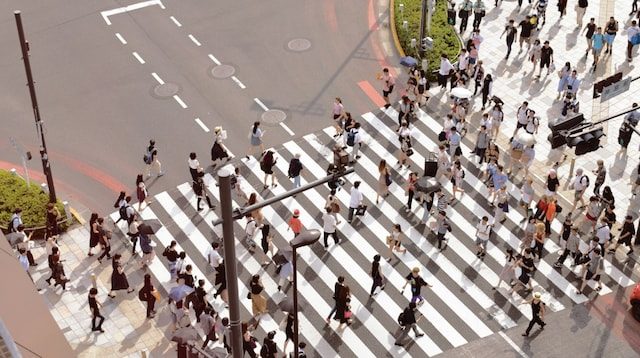 Email Writing Crowd in Crosswalk