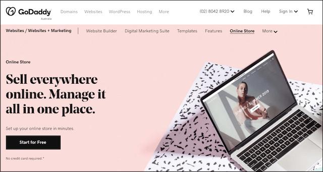 GoDaddy Online Store landing page