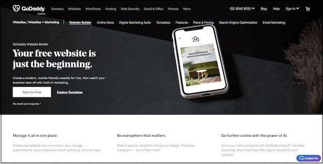 GoDaddy's Website Builder landing page