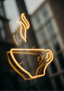 Neon Coffee Cup Logo