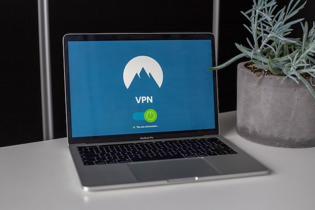 """Open laptop with """"VPN"""" on the screen"""