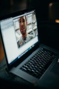 Recording video on laptop.