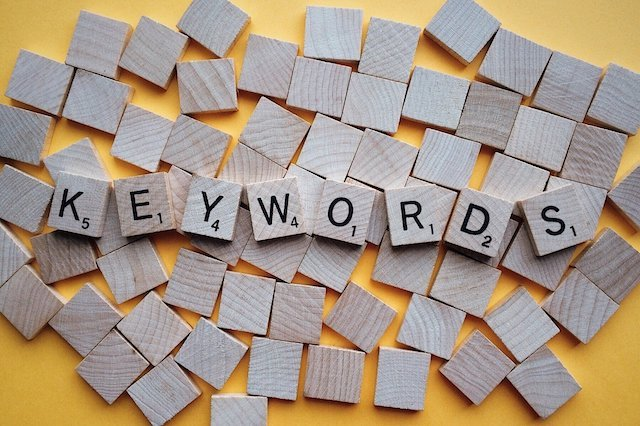 "Scrabble tiles spelling the word ""keywords"""