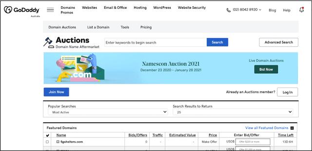 Screen shot of GoDaddy Auctions website