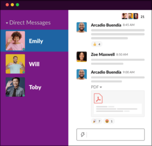 Screenshot of Slack app