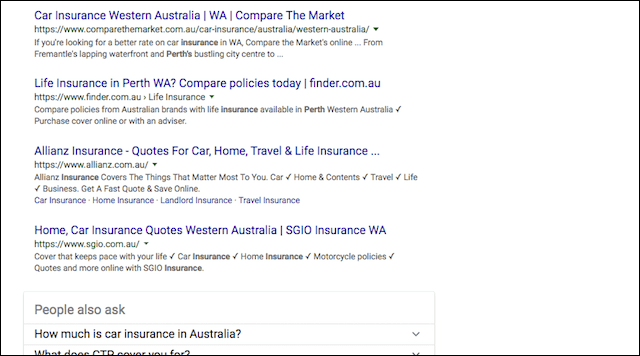 SEO Tools Google Insurance Perth Search