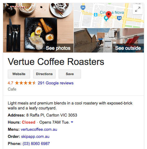 Web Marketing Vertue Coffee Roasters