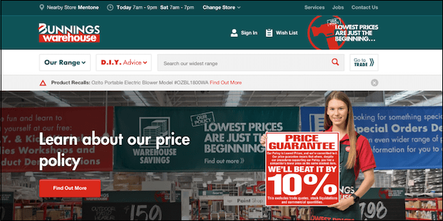 Website Design Bunnings Warehouse HP