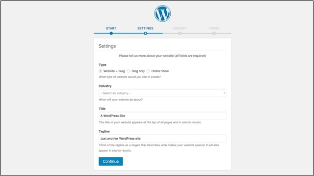Website Design WordPress Dashboard Settings