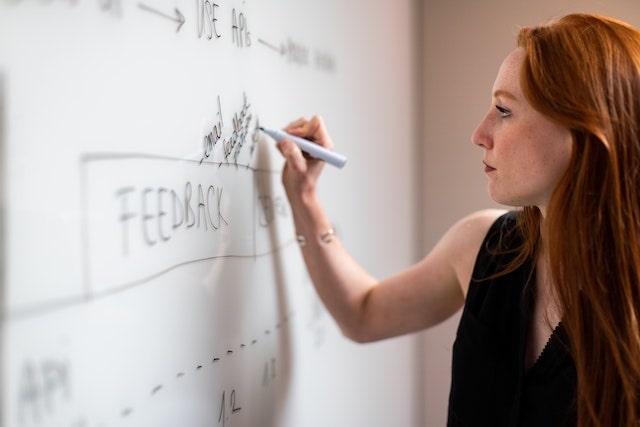 Woman writing ideas on whiteboard