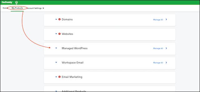WordPress Website GoDaddy Account Dashboard